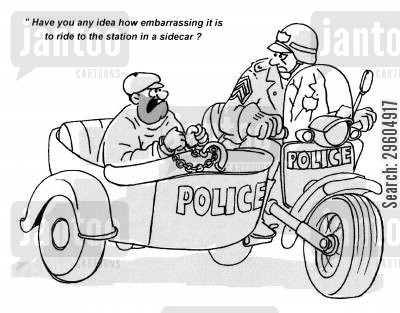 embarrass cartoon humor: 'Have you any idea how embarrassing it is to ride to the station in a sidecar?'