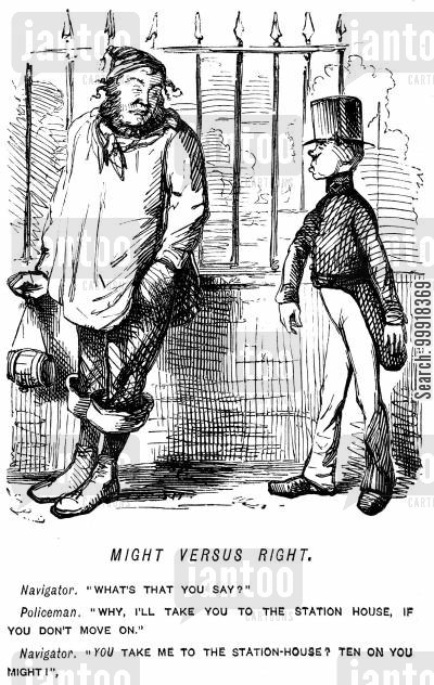 vagrancy cartoon humor: Navigator refusing to be moved on by a small policeman.