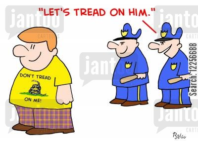 terrorist cartoon humor: 'Let's tread on him.'