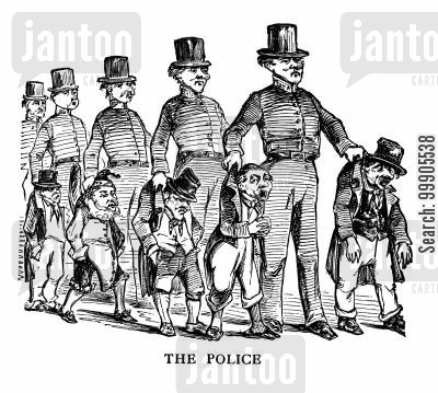 metropolitan police cartoon humor: The Police - 1829