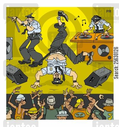 rap cartoon humor: Hip-hop cops on stage.