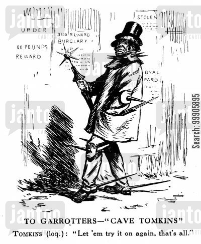 crime cartoon humor: The Garotting Scare of the 1860s