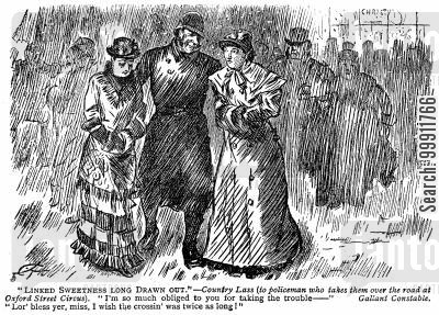 gallant cartoon humor: Police constable helping two ladies across the road