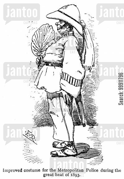 imperial cartoon humor: Improved costume for the Metropolitan Police in the great heat of 1893
