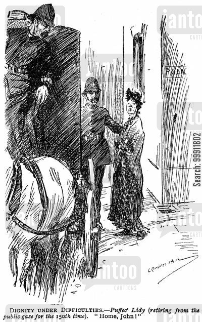 police carriage cartoon humor: Lady escorted home by police