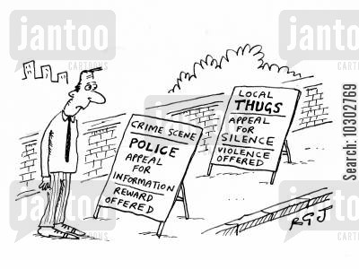 police woman cartoon humor: Police appeal for information whilst thugs appeal for silence.