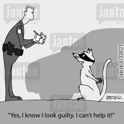 crook cartoon humor: 'Yes, I know I look guilty. I can't help it!'