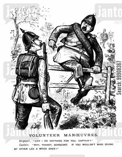 leg over cartoon humor: Volunteer Manoeuvres.