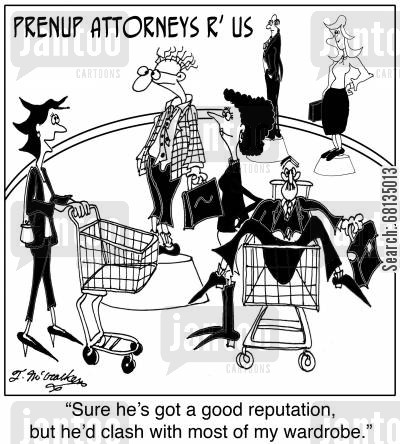 prenuptial agreements cartoon humor: Sure he's got a good reputation, but he'd clash with most of my outfits.'