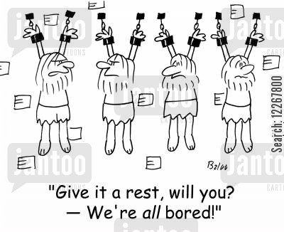 jailbird cartoon humor: 'Give it a rest, will you -- We're ALL bored'