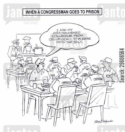 posh cartoon humor: 'I ask my distinguished colleague from cell block c to please pass the salt.'
