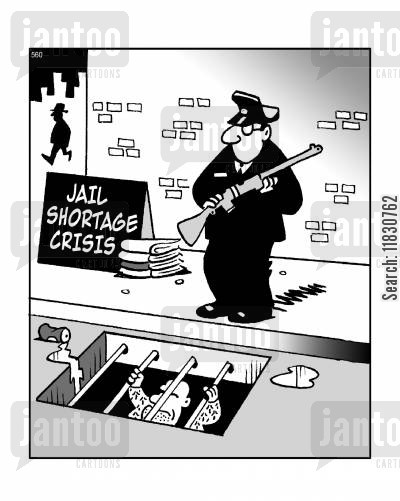 in prison cartoon humor: Jail shortage crisis.