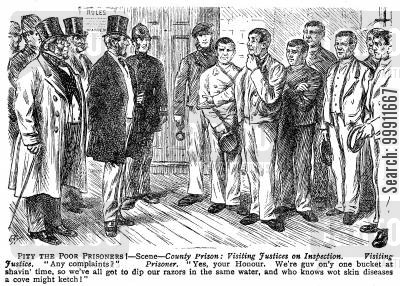disease cartoon humor: Prisoners complaining during an inspection