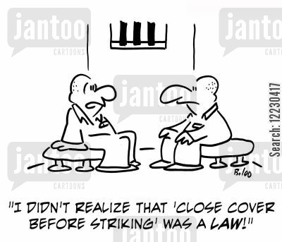 life sentences cartoon humor: 'I didn't realize that 'close cover before striking' was a law.'