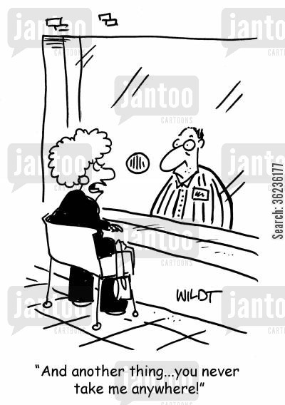 prison visitors cartoon humor: 'And another thing...you never take me anywhere!'