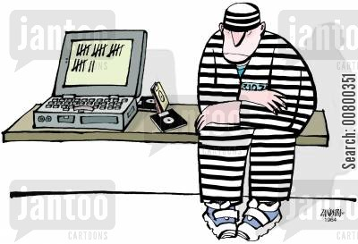 technological advance cartoon humor: Prisoner keeping a calendar on his laptop.