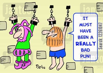 bad joke cartoon humor: 'It must have been a REALLY bad pun!'