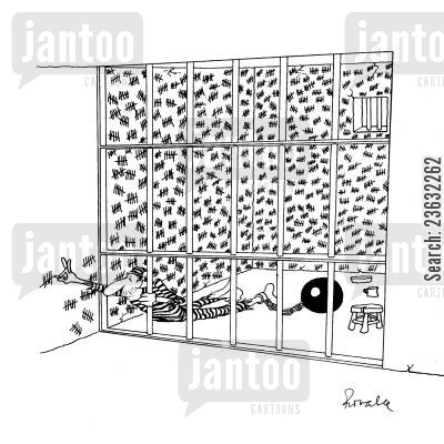 porridge cartoon humor: Prisoner runs out of wall space to count the days.