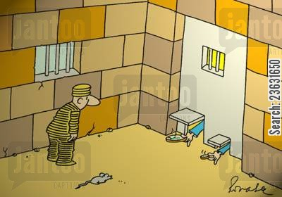mealtime cartoon humor: Prisoner receives food for himself and his mouse.