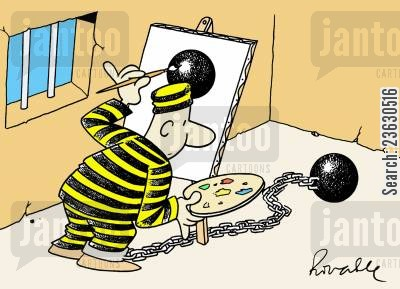ball and chain cartoon humor: Prisoner painting his ball and chain.