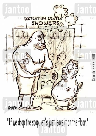 jailer cartoon humor: If we drop the soap, let's just leave it on the floor.