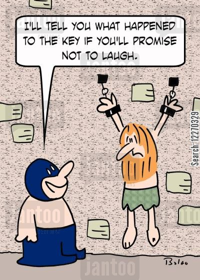 torturer cartoon humor: 'I'll tell you what happened to the key if you promise not to laugh.'