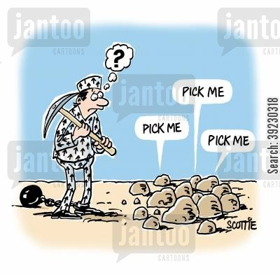selection cartoon humor: 'Pick me.' 'Pick me.' 'Pick me.'