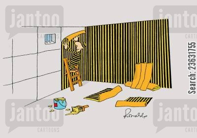 escape plans cartoon humor: Prisoner decorating his cell.