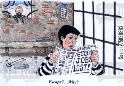 penal system cartoon humor: 'Escape?...Why?'