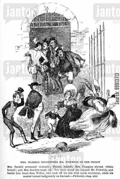 fleet prison cartoon humor: Mrs. Bardell encounters Mr. Pickwick in the prison