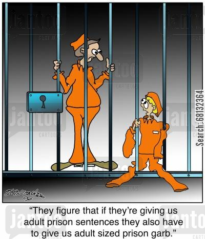 sentencing guidline cartoon humor: 'They figure that if they're giving us adult prison sentences they also have to give us adult sized prison garb.'