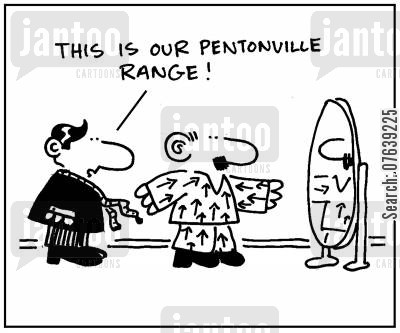 prison stripes cartoon humor: 'This is our Pentonville range.'