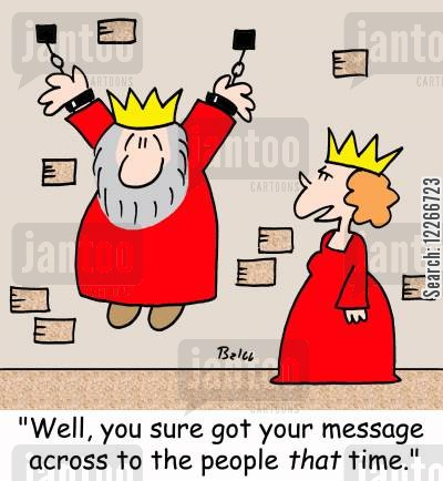 population cartoon humor: 'Well, you sure got your message across to the people THAT time.'