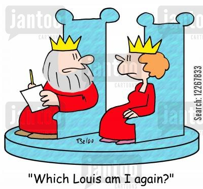 french monarchs cartoon humor: 'Which Louis am I again?'