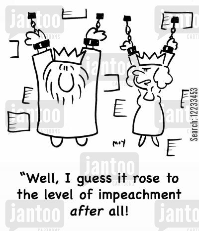 impeached cartoon humor: 'Well, I guess it rose to the level of impeachment after all!'