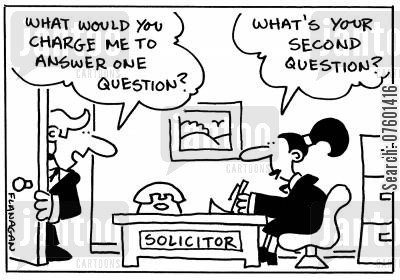 big bills cartoon humor: 'What would you charge me to answer one question?' 'What's your second question?'