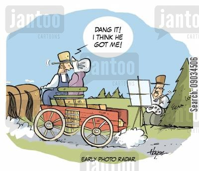 horse wagons cartoon humor: Early Photo Radar