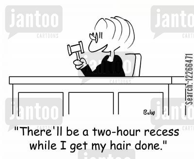 beauticians cartoon humor: 'There'll be a two-hour recess while I get my hair done.'