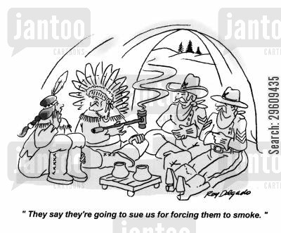 second hand smoke cartoon humor: 'They say they're going to sue us for forcing them to smoke.'