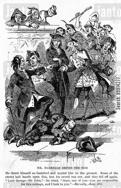 the gordon riots cartoon humor: Mr. Haredale defies the mob