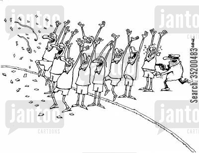 gun point cartoon humor: Lots of pepople with their hands in the air celebrating, one man's are up because he is being robbed at gun point
