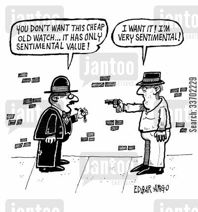 sentiment cartoon humor: 'You don't want this cheap old watch...'