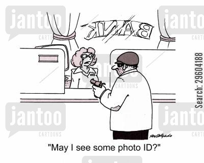 identifies cartoon humor: 'May I see some photo ID?'
