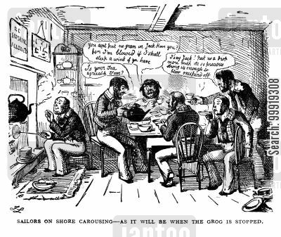 royal navy cartoon humor: Sailors on Shore Carousing - As it will be when the grog is stopped.