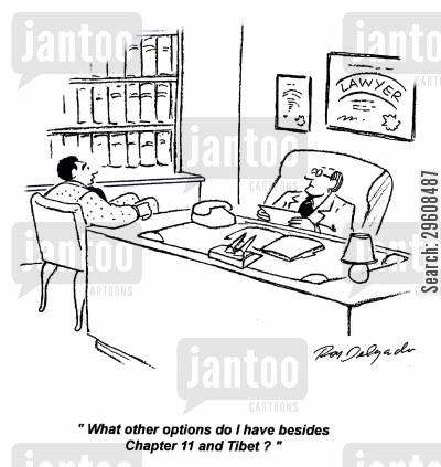choices cartoon humor: 'What other options do I have besides Chapter 11 and Tibet?'
