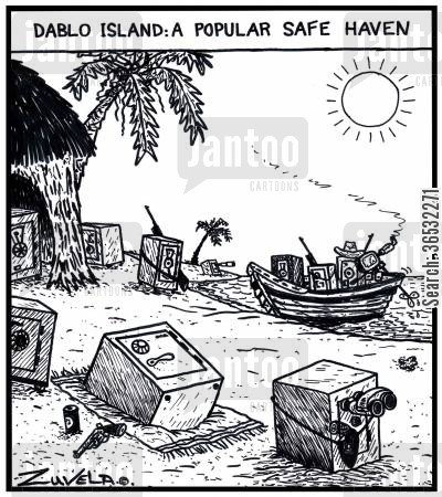 borrow money cartoon humor: Dablo island: a popular safe haven.