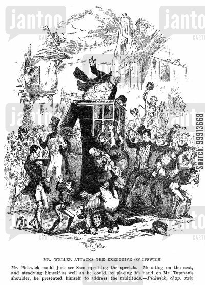 samuel pickwick cartoon humor: 'Mr. Weller Attacks the Executive of Ipswich'