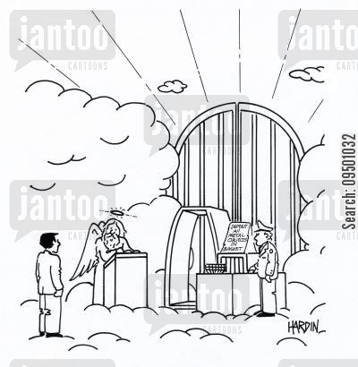 guarded cartoon humor: Metal detector and security at the gate to heaven
