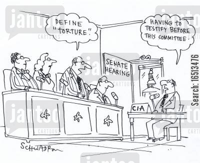 torture cartoon humor: 'Define Torture.' 'Having to testify before this committee.'