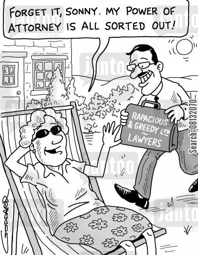 elderly care cartoon humor: 'Forget it, sonny. My power of attorney is all sorted out.'
